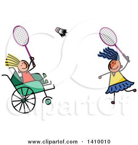 Clipart of a Doodled Disabled Child and Friend Playing Badminton - Royalty Free Vector Illustration by Prawny