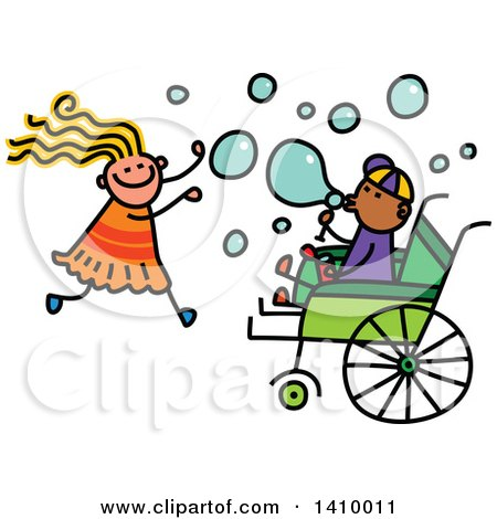 Clipart of a Doodled Disabled Boy and Girl Playing and Blowing Bubbles - Royalty Free Vector Illustration by Prawny