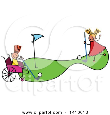 Clipart of a Doodled Disabled Girl and Friend Playing Golf - Royalty Free Vector Illustration by Prawny