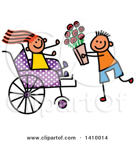 Clipart of a Doodled Disabled Girl Receiving Flowers from a Boy - Royalty Free Vector Illustration by Prawny