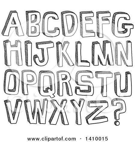 Clipart of Sketched Capital Alphabet Letters - Royalty Free Vector Illustration by Prawny