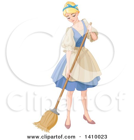 Clipart of a Blond Woman, Cinderella, Sweeping and Cleaning - Royalty Free Vector Illustration by Pushkin