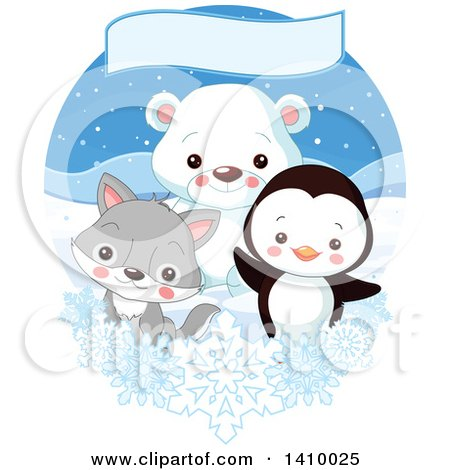 Clipart of a Cute Baby Penguin, Fox or Wolf and Polar Bear Cub in the Arctic, Under a Banner with Snowflakes - Royalty Free Vector Illustration by Pushkin
