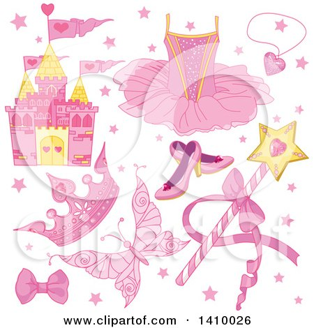 Clipart of a Pink Fairy Tale Castle and Princess Items - Royalty Free Vector Illustration by Pushkin