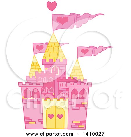 Clipart of a Pink Fairy Tale Castle with Heart Flags - Royalty Free Vector Illustration by Pushkin