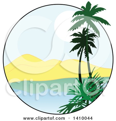 Clipart of a Travel Design of Palm Trees, a Bay, Mountains and Sunset - Royalty Free Vector Illustration by dero