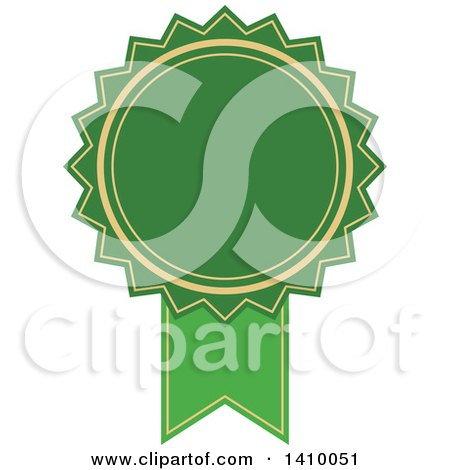 Clipart of a Green Ribbon Award Design Element - Royalty Free Vector Illustration by dero