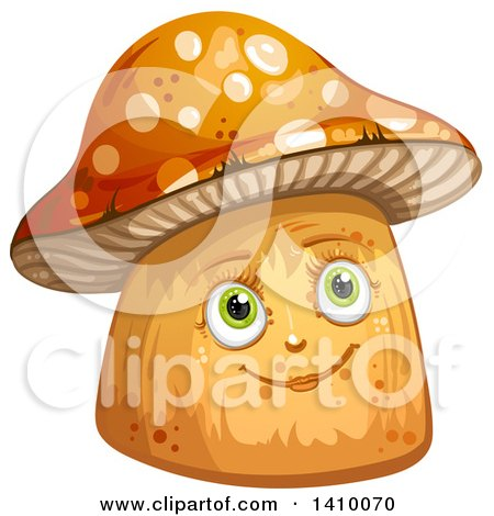 Clipart of a Happy Female Mushroom - Royalty Free Vector Illustration by merlinul