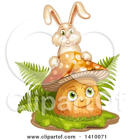 Clipart of a Happy Female Mushroom with Ferns and a Rabbit - Royalty Free Vector Illustration by merlinul