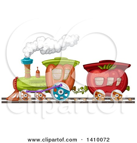 Clipart Of A Tomato And Bell Pepper Produce Train Royalty Free Vector Illustration