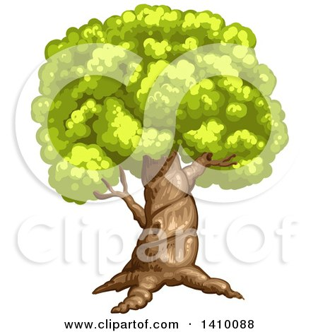 Clipart of a Tree - Royalty Free Vector Illustration by merlinul