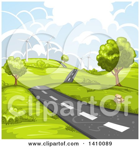 Clipart of a Hilly Rural Country Road with a Wind Farm - Royalty Free Vector Illustration by merlinul