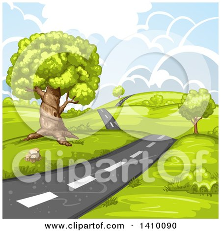 Clipart of a Hilly Rural Country Road - Royalty Free Vector Illustration by merlinul