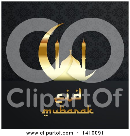 Clipart of a Eid Mubarak Background with a Silhouetted Mosque and Text - Royalty Free Vector Illustration by KJ Pargeter