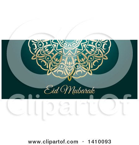 Clipart of a Eid Mubarak Background with an Ornate Gold Design and Text - Royalty Free Vector Illustration by KJ Pargeter