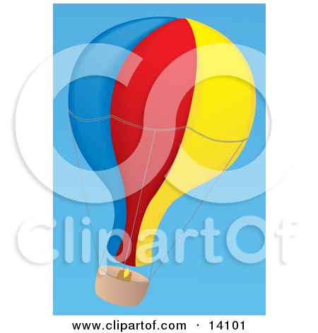 Blue, Red and Yellow Hot Air Balloon Floating In A Clear Blue Sky Aviation Clipart Illustration by Rasmussen Images