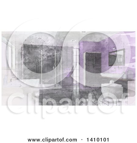 Clipart of a Sketched Watercolor Bathroom Interior with a Large Soaking Tub, Shower, Cabinets, Sink, Tile Floors and Purple Walls - Royalty Free Illustration by KJ Pargeter