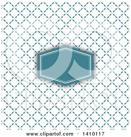 Clipart of a Retro Styled Teal Frame and Pattern Wedding Invitation Design - Royalty Free Vector Illustration by KJ Pargeter
