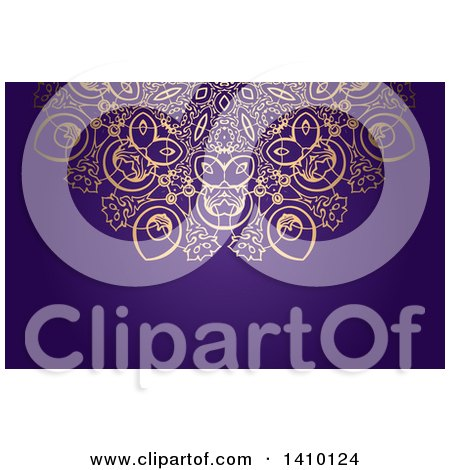 Clipart of a Golden Ornate and Purple Background or Business Card Design - Royalty Free Vector Illustration by KJ Pargeter