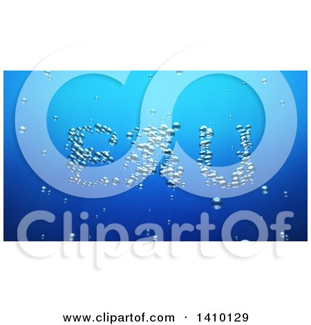 Clipart of a 3d Word, Eau, Made of Bubbles Underwater - Royalty Free Illustration by Julos