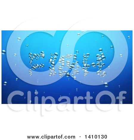 Clipart of a 3d Word, Fish, Made of Bubbles Underwater - Royalty Free Illustration by Julos