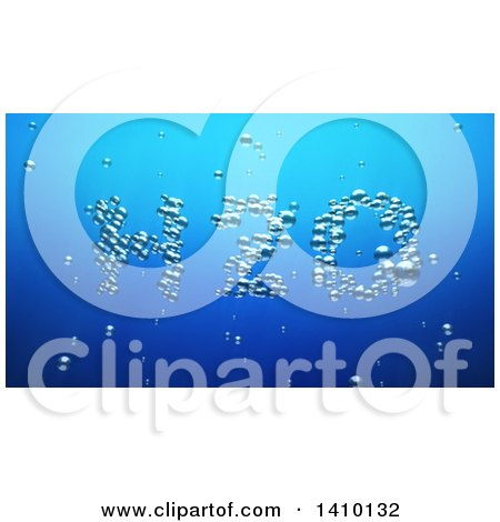 Clipart of a 3d Word, H2o, Made of Bubbles Underwater - Royalty Free Illustration by Julos