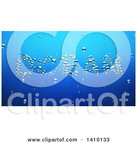 Clipart of a 3d Word, Ocean, Made of Bubbles Underwater - Royalty Free Illustration by Julos
