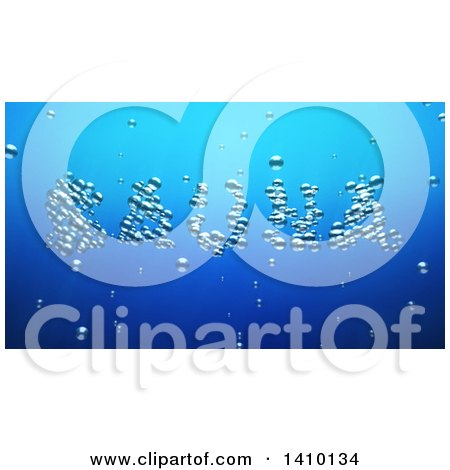 Clipart of a 3d Word, Sauna, Made of Bubbles Underwater - Royalty Free Illustration by Julos