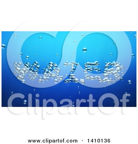 Clipart of a 3d Word, Water, Made of Bubbles Underwater - Royalty Free Illustration by Julos