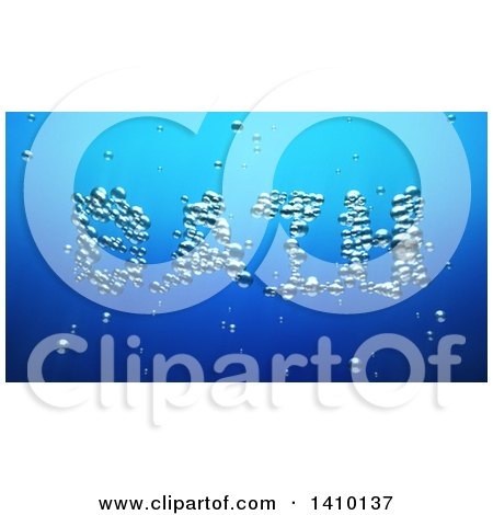 Clipart of a 3d Word, Bath, Made of Bubbles Underwater - Royalty Free Illustration by Julos