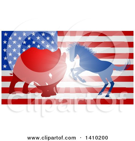 Clipart of a Silhouetted Political Democratic Donkey or Horse and Republican Elephant Battling over an American Flag and Burst - Royalty Free Vector Illustration by AtStockIllustration