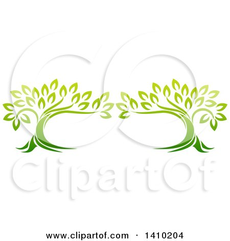 Clipart of a Design of Two Gradient Green Mature Trees Forming a Frame - Royalty Free Vector Illustration by AtStockIllustration