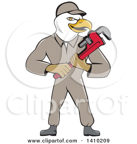 Clipart of a Cartoon Bald Eagle Plumber Man Holding a Monkey Wrench - Royalty Free Vector Illustration by patrimonio
