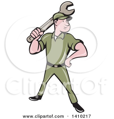 Clipart of a Retro Cartoon White Handy Man or Mechanic Standing and Holding a Spanner Wrench - Royalty Free Vector Illustration by patrimonio