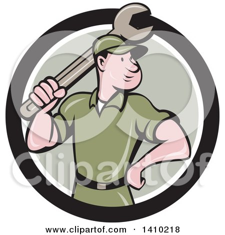 Clipart of a Retro Cartoon White Handy Man or Mechanic Standing and Holding a Spanner Wrench in a Black White and Green Circle - Royalty Free Vector Illustration by patrimonio