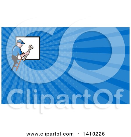 Retro Cartoon White Handy Man Holding a Spanner Wrench and Climbing a Ladder to a Window or Sign and Blue Rays Background or Business Card Design Posters, Art Prints