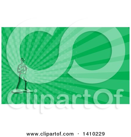 Retro Green Toy Construction Worker Holding a Nail Gun and Green Rays Background or Business Card Design Posters, Art Prints