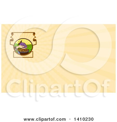 Clipart of a Retro Woodcut Hand Holding a Bunch of Purple Grapes over a Bowl of Raisins and Pastel Orange Rays Background or Business Card Design - Royalty Free Illustration by patrimonio