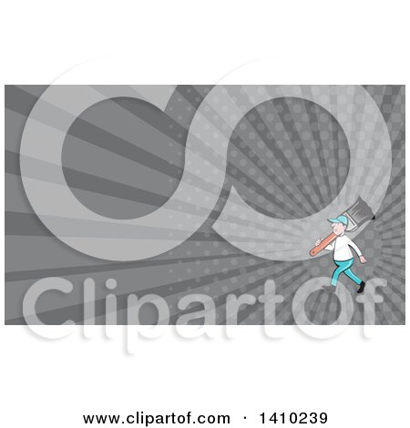 Retro Cartoon White Male House Painter Carrying a Giant Brush on His Shoulder and Gray Rays Background or Business Card Design Posters, Art Prints