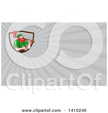 Clipart of a Cartoon Red Haired Lumberjack, Paul Bunyan, Carrying an Axe and Giving a Thumb up and Gray Rays Background or Business Card Design - Royalty Free Illustration by patrimonio