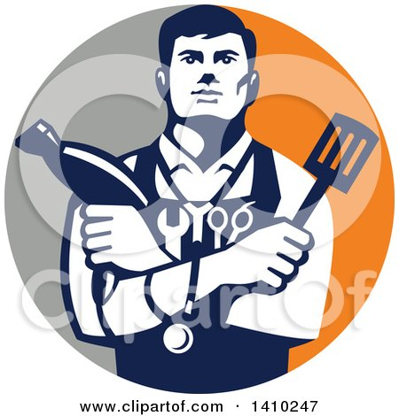 Clipart of a Retro Jack of All Trades Worker Man Holding a Blow Dryer and Spatula, Wearing a Stethoscope and Tools in a Gray and Orange Circle - Royalty Free Vector Illustration by patrimonio