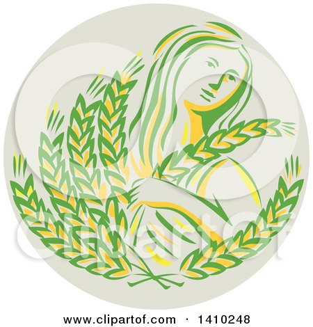 Clipart of a Greek Goddess, Demeter, Holding Grains in a Circle - Royalty Free Vector Illustration by patrimonio