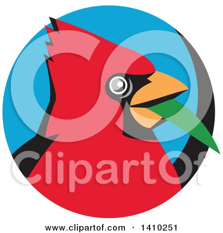 Clipart of a Retro Cartoon Red Cardinal Bird with a Blade of Grass in His Mouth, in a Black and Blue Circle - Royalty Free Vector Illustration by patrimonio
