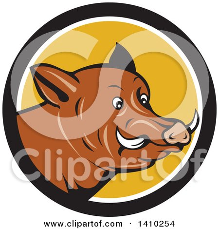 Clipart Of A Cartoon Wild Razorback Boar Head In A Black White And Yellow Circle Royalty Free Vector Illustration