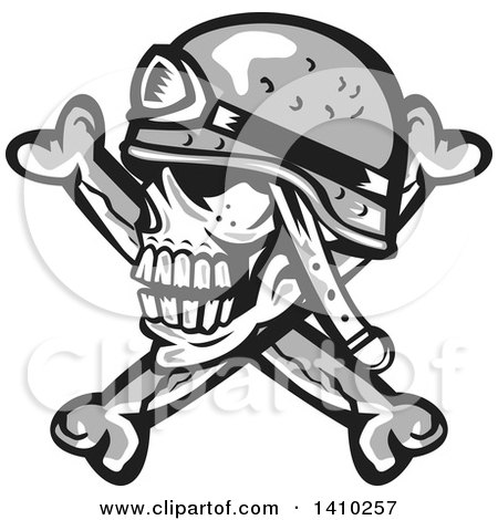Clipart of a Retro Military Skull and Crossbones with a Helmet - Royalty Free Vector Illustration by patrimonio