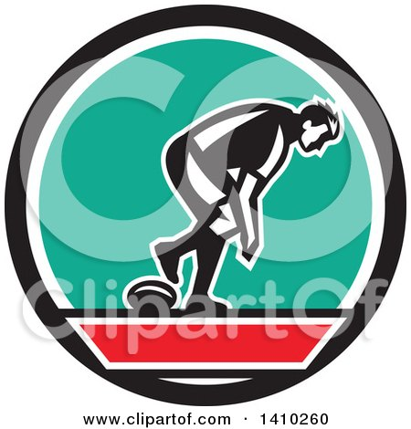 Clipart of a Retro Male Rugby Player in a Black Red White and Turquoise Circle - Royalty Free Vector Illustration by patrimonio