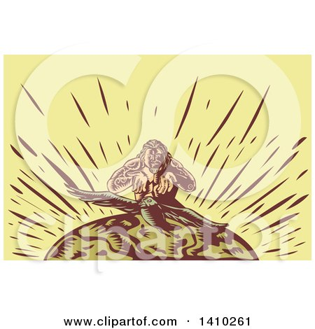 Clipart of a Retro Woodcut Samoan God, Tagaloa, Releasing His Plover Bird Daughter to Earth - Royalty Free Vector Illustration by patrimonio
