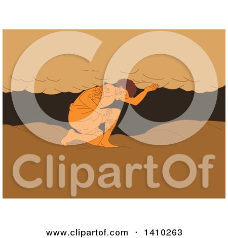 Clipart of a Sketch of a Samoan Atlas Kneeling Looking to the Ground, Holding Sky Away from Earth - Royalty Free Vector Illustration by patrimonio