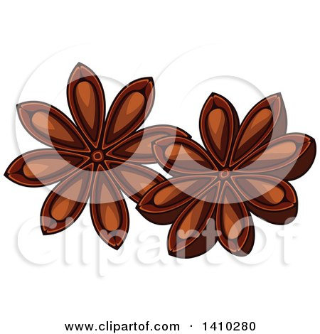 Clipart of a Culinary Herb Spice - Star Anise - Royalty Free Vector Illustration by Vector Tradition SM