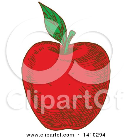 Clipart of a Sketched Red Apple - Royalty Free Vector Illustration by Vector Tradition SM